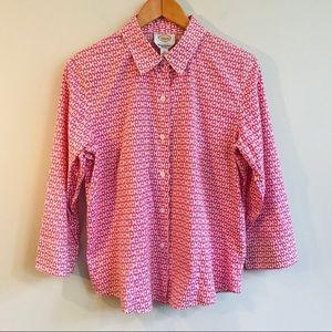 Talbots Pink Print Poplin Blouse